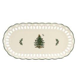 "Spode CHRISTMAS TREE  Pierced Sandwich Tray 14"""