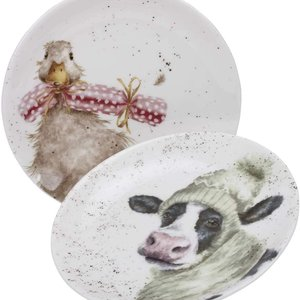 """Wrendale WRENDALE COUPE PLATE 6.5"""" Duck & Cow/ SET OF 2"""
