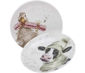 """WRENDALE COUPE PLATE 6.5"""" Duck & Cow/ SET OF 2"""
