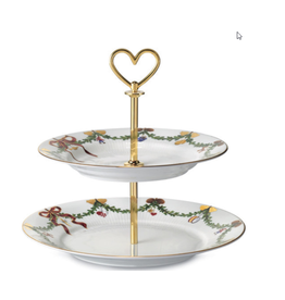 ROYAL COPENHAGEN  CHINA Star Fluted Christmas 2-Tier Pastry/Tea Platter ROYAL COPENHAGEN