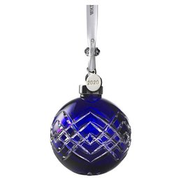 Waterford Christmas Ball Cut Blue Ornament WATERFORD