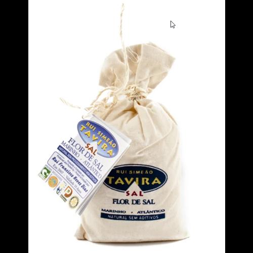 PORTUGAL IMPORTS SEA SALT (Flor de Sal) 250 gr. in Linen Bag