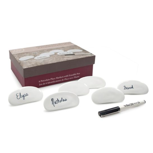 B.I.A. NAME PLATES White W/ERASABLE PEN Set of 6