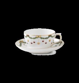 ROYAL COPENHAGEN  CHINA Star Fluted Christmas  Tea Cup & Saucer 10.75oz ROYAL COPENHAGEN