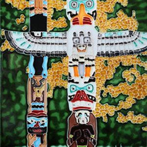 "Benaya Handcrafted Art Decor TILE - THE TOTEM POLES II - 8"" x 12"""