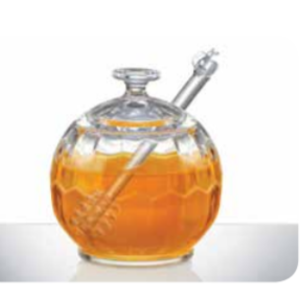 Fox Run Honey server with dipper Round Hive