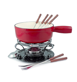 Swissmar FONDUE LUGANO 9 PCS. Cherry Red MATTE CAST IRON