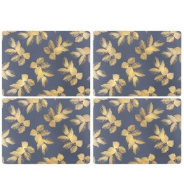 Pimpernel Placemats Leaves on Navy by Sara Miller Set/4