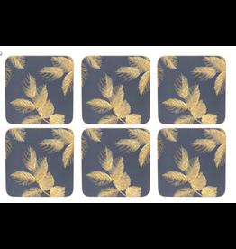 Pimpernel Coasters Leaves on Navy by Sara Miller / Set of 6