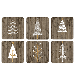 Pimpernel Coaster Set of 6 Wooden White Christmas