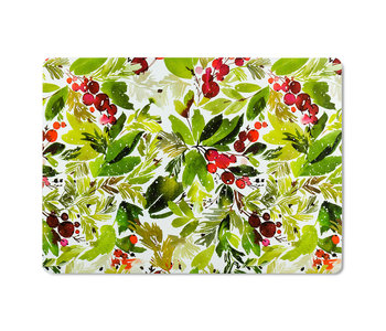 """Cranberry & Greenery Placemat 13x18"""" WIPEABLE"""