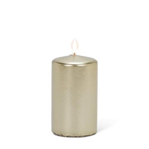 "Abbott PILLAR Candle Small Satin Gold - 4"""