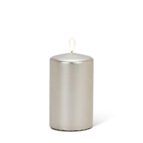 "Abbott PILLAR Candle Small Satin Silver - 4"""
