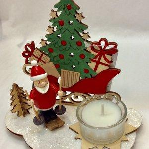 Option2 Wood Santa 3D XMAS Scene with Tealight Holder