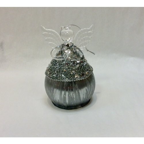 "V & L Associates Inc. Fairy Silvery Beaded BALL SHAPED 5"" tall"