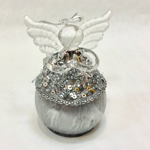 "V & L Associates Inc. Fairy Silvery Beaded BALL SHAPED 3"" tall"
