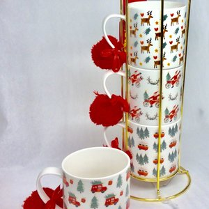 Design Home Gift & Paper Inc. Mug Stacking Set of 4 WHIMSY HOLIDAY