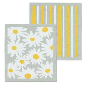 Abbott Swedish Cloth Daisies & Stripes/ Set of 2