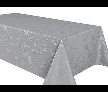 "TABLECLOTH POLY 60"" x 144"" Shiny Snowflake Grey"