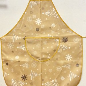 Texstyles Deco APRON FANCY XMAS TREES GOLD POLYESTER