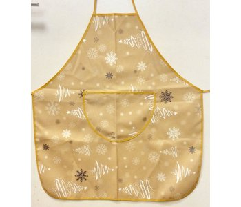 APRON FANCY XMAS TREES GOLD POLYESTER