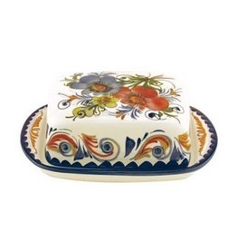 "PORTUGAL IMPORTS BOUQUET Butter Dish 7""x5""x7"""