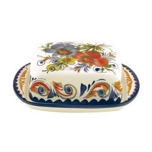 """PORTUGAL IMPORTS BOUQUET Butter Dish 7""""x5""""x7"""""""