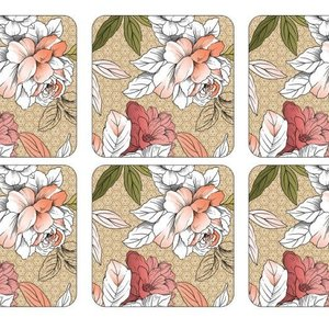 Pimpernel Coasters Floral Sketch Set/6