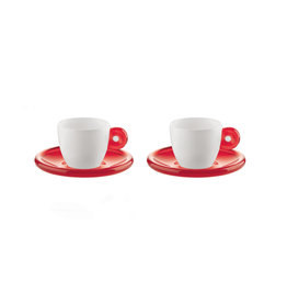GUZZINI Espresso Cup Gocce - Clear Red/ Set of 2 - GUZZINI