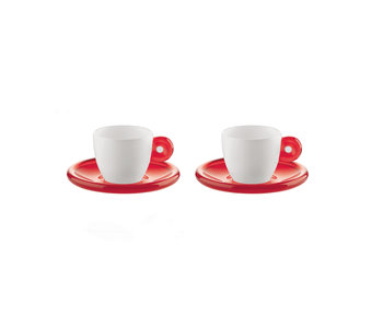 Espresso Cup Gocce - Clear Red/ Set of 2 - GUZZINI