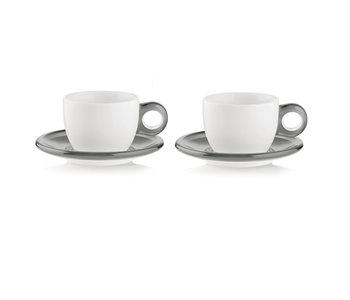 Cappuccino Cup/Saucer Gocce -  Grey/ Set of 2 - GUZZINI