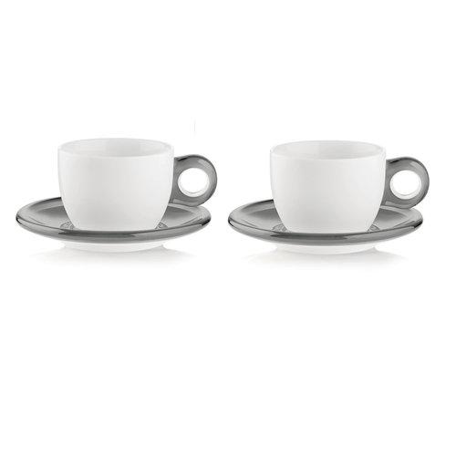 GUZZINI Cappuccino Cup/Saucer Gocce -  Grey/ Set of 2 - GUZZINI