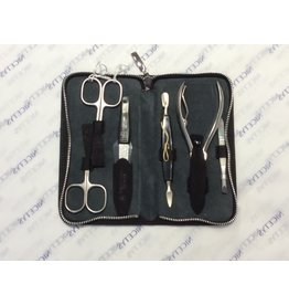 Kissing Cranes 1834 Manicure set large Men''s black 6pcs KISSING CRANES 1834