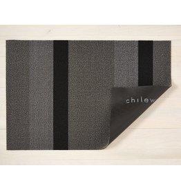 """Chilewich Big Mat Bold Strip Shag SILVER/BLACK 36"""" X 60"""""""
