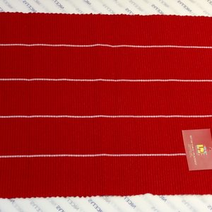 """Texstyles Deco PLACEMAT POLY/COTTON Mini Stripe Red- 13"""" X 19"""""""