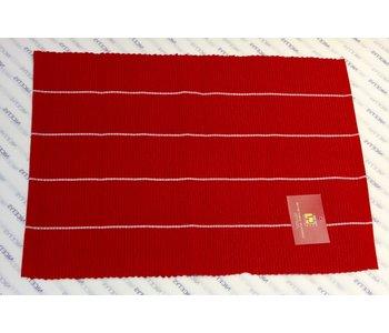 "PLACEMAT POLY/COTTON Mini Stripe Red- 13"" X 19"""