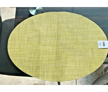 Placemat Mini Basketweave Oval LEMON