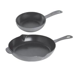 """Staub Fry pan/ Set of 2/ 10.25"""" & 6"""" STAUB Graphite Grey"""