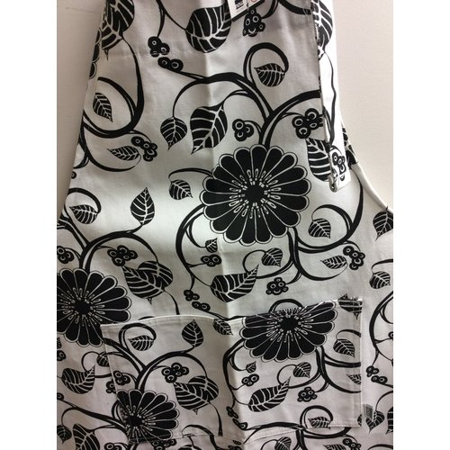 Danica Apron Patterned  Black Flowers