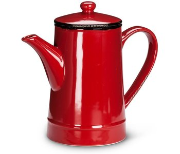 Pot Tall 36oz Enamel Look Red