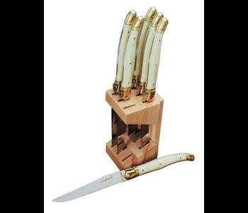 Laguiole Steak knife set in block IVORY BRASS BOLSTER