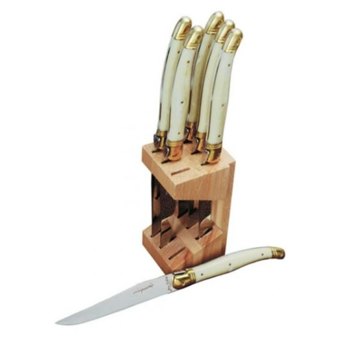 Laguiole Laguiole Steak knife set in block IVORY BRASS BOLSTER