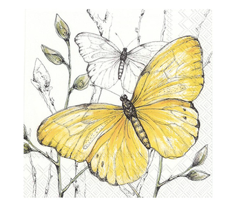 Napkin Lunch Paper COLOURFUL BUTTERFLIES Yellow