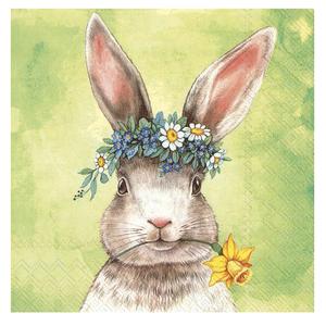 IHR Napkin Lunch Paper Easter Friends Bunny Green