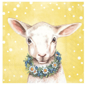 IHR Napkin Lunch Paper Easter Friends Lamb Yellow