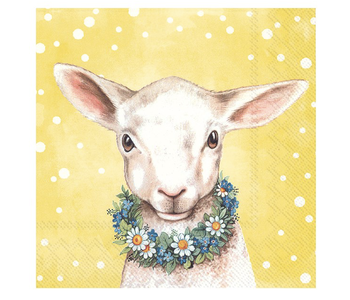 Napkin Lunch Paper Easter Friends Lamb Yellow