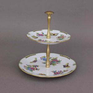 Herend 2 Tier Fruit Stand Metal Handle Queen Victoria