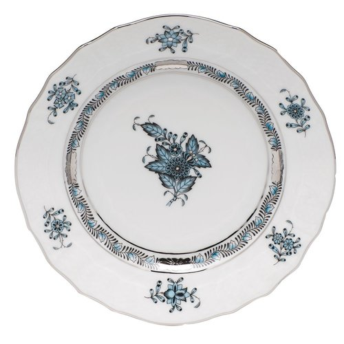 Herend Bread and Butter Plate Chinese Bouquet Turquoise Platinum