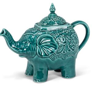Abbott TEAPOT Ornate Elephant TEAL