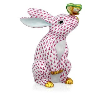 Bunny with Butterfly on Nose Fishnet Pink